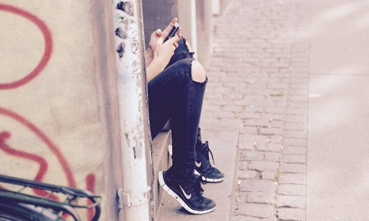 girl checking a phone